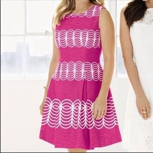 JUST TAYLOR Fit Flare Pleated Circle Petites Dress